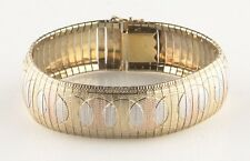 Milor of Italy Tri (Yellow & Rose Gold) Vermeil Sterling Silver Bracelet Sz 7.25