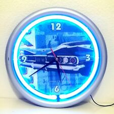 Sterling & Noble Car Clock w/ Blue Neon Ring