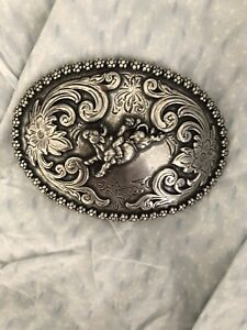 Nocona SADDLE BRONCO Buster Metal Belt Buckle Filigree Rodeo VTG RODEO BUCKLE