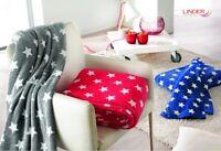 Plaid couverture Canapé/Jeté de Lit 130 cm x 180 polaire etoile rouge