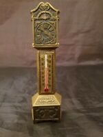 "Vintage Graham Bronze Table Top Grandfather Clock Thermometer 5 3/4"" x 1 1/2"""