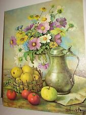 Vintage Lithograph Print On Textured Board By Artist Henk Bos Still Life