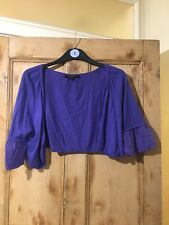 Coast Purple / Blue Short Sleeve Cropped Open Shrug Size L