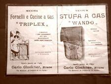 Pubblicità del 1907 Cucina Triplex e stufa a gas Wando Carlo Glockner Milano