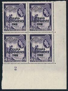 British Guiana Guyana QEII 1967-68 4 Blocks Wmk 12 Upright Fresh Unmounted Mint