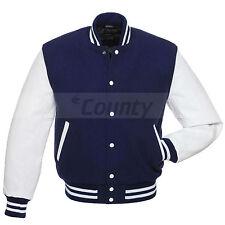 Varsity Baseball Jacket Navy Blue Fleece Cotton Body White Faux Leather Sleeves