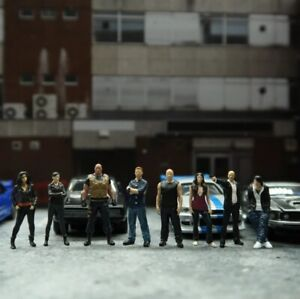 1:64 Scale Model Fast and Furious Cast Alloy Car Diorama Figures Miniature Scene