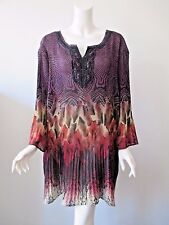 Maggie Barnes For Catherines Multi Color Crinkle Pleat Peasant Tunic Top 3X