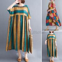 Women Summer Short Sleeve Stripe Casual Loose Kaftan Baggy Tunic Dress Plus Size
