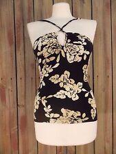 BCBG Maxazria Tankini Black Cream Floral Print Triangle Swim Suit Top Style XS