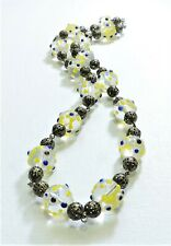 Vintage Clear Yellow Blue Bumpy Lampwork Art Glass Bead Necklace FE20BN86