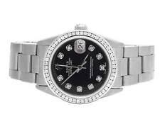 Rolex Midsize Datejust 178274 31MM Oyster Black Dial Diamond Watch 1.75 Ct