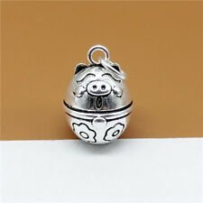 Sterling Silver Pig Jingle Bell Charm Pendant for Bracelet Necklace