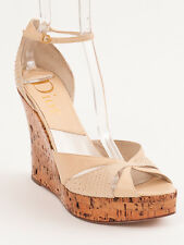 New Christian Dior Beige Leather Wedges Size 40.5 US 10.5