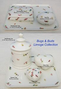 """French Limoge """"Bugs & Buds"""" Tray Apothecary Jar Jewelry Heart Egg Trinket Box"""