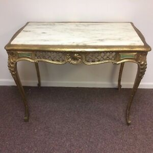 Antique French Carved Hall Library Entrance Table White Marble Top & Gold Leaf