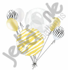 7 pc Pale Yellow Zebra Print Balloon Bouquet Happy Birthday Baby Shower Animal
