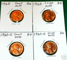 1960 P & D SMALL & LARGE DATE LINCOLN MEMORIAL CENTS 4 COIN VARIETY SET