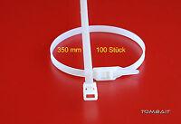 100 lange Profi Industrie Kabelbinder 350mm wieder lösbar verwendbar weiß natur
