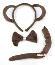 Animal Brown Little Monkey EAR Party Costume Headband with Bow Tail 3 pieces set