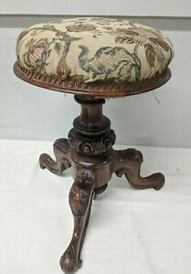 Vintage Victorian Rotating Adjustable Piano / Dressing Stool - Signed J. Fitter