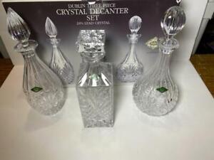 3 Shannon Godinger Crystal Decanters NIB