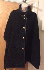 EMILIO PUCCI Black Wool-Blend Cape with Leather Trim Size UK 8/EU 36