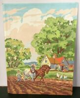 """Vintage Paint by Numbers Painting / Farmer plowing w/ two horse 18"""" H x 10"""" L"""