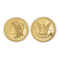 5$ Cook Islands 1964 Morgan 1/10th oz .24(%) Pure Gold Coin/.76(%) Copper +COA