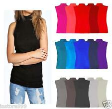New Ladies Polo Neck Lot Sleeveless Stretch Turtle Neck Jersey Basics Top 8-26