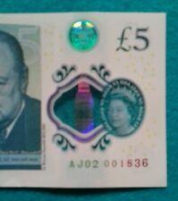 AJ02 BANK OF ENGLAND POLYMER £5 FIVE POUND GENUINE NEW NOTE.  RARE!