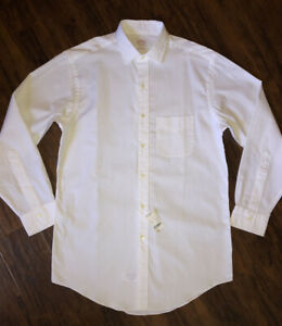 NEW Brooks Brothers Men's 14.5-32 Long Sleeve Button Up White