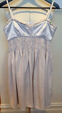 WITCHERY Oyster Silver Stitched Ruffle Bust Spaghetti Strap Baby Doll Dress 10
