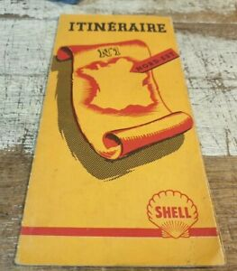 Very Old French SHELL Oil Co. ROAD MAP of FRANCE - X100