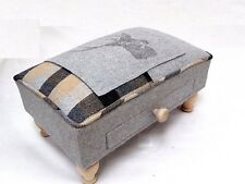 Grey Check Tartan Stag Soft Woven Tweed Wool Fabric Footstool Pouffe Stool 43d