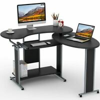 LShaped Computer Desk Tribesigns Rotating Modern Office Space-saving Corner Desk