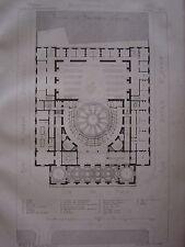 Gravure  Plan du 1er étage du Théâtre de REIMS par l' Architecte Alphonse Gosset