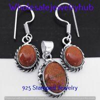 Sunstone Gemstone 925 Silver Plated Pendant+Earrings Sets Jewelry FST-163