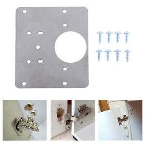1 set Hinge Repair Plate for Cabinet Furniture Drawer Window Stainless SteRI