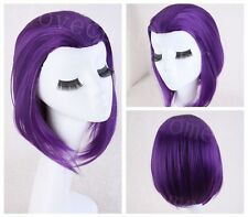 14'' Medium Raven From Teen Titans Cosplay Fancy Party PURPLE synthenic Wig Wigs
