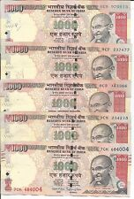 INDIA LOT 5x 1000 RUPEES 2008-2016. VF CONDITION. 5RW 08ABR
