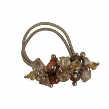 Rhinestone Crystals Pearls Hair Ponytail Holder Band - Beige with Orange