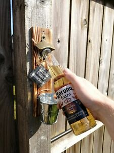 Wall mounted bottle opener cap catcher bar outdoor birthday man garden BBQ gift