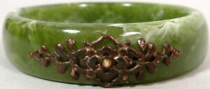 Antique Vtg Bangle Bracelet Marbled Jade Green Plastic Metal Cartouche Stunning