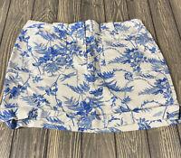 Express Womens Stretch Cream Blue Floral Skirt Size 7 8