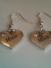 Mum hook earrings silver in colour family and friends
