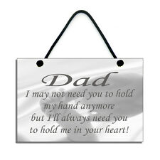 Father's Day Gift Dad Hold Me In Your Heart Handmade Wooden Home Sign/Plaque 524