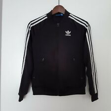 ADIDAS ORIGINALS BLACK WHITE TREFOIL TRACKSUIT JACKET TOP SUZE XS UK 6 ZIP UP