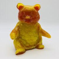 "Amberina Slag Orange Yellow Gold Mosser Glass Bear 4"" Paperweight Figurine"