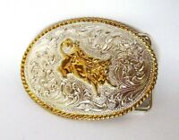 Western Cowboy Rodeo Small Belt Buckle Silver & Gold Tone Metal